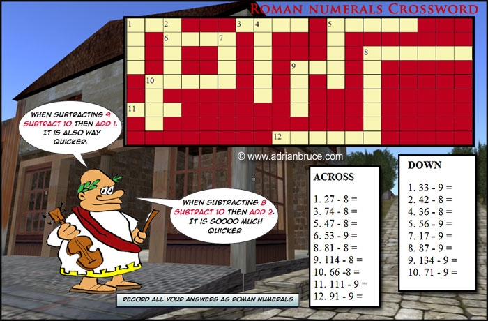 Roman Numerals Crossword Puzzle - Strategies for Subtracting 8 and 9 ...